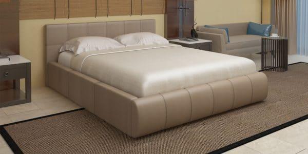 Мягкая кровать Афина 160см экокожа темно-бежевого цвета фото | интернет-магазин Складно
