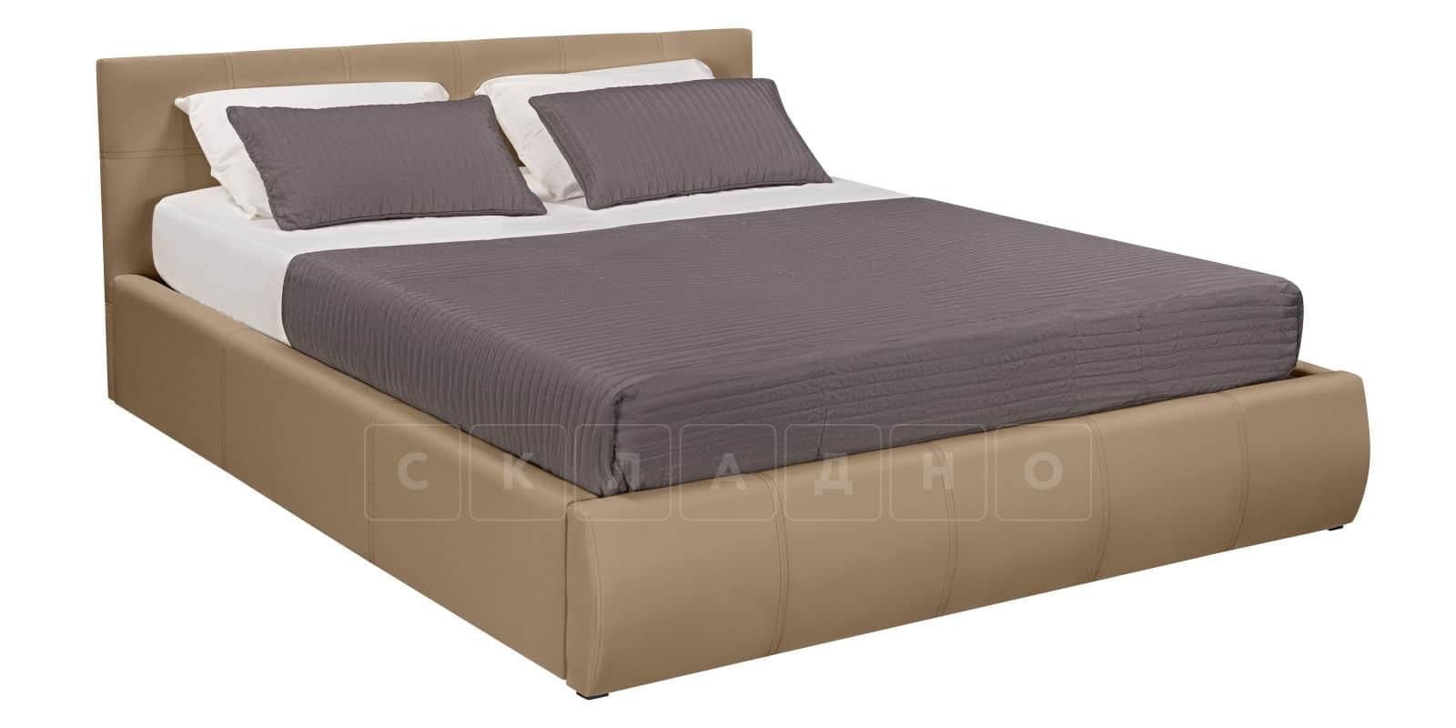 Мягкая кровать Афина 160см экокожа темно-бежевого цвета фото 2 | интернет-магазин Складно