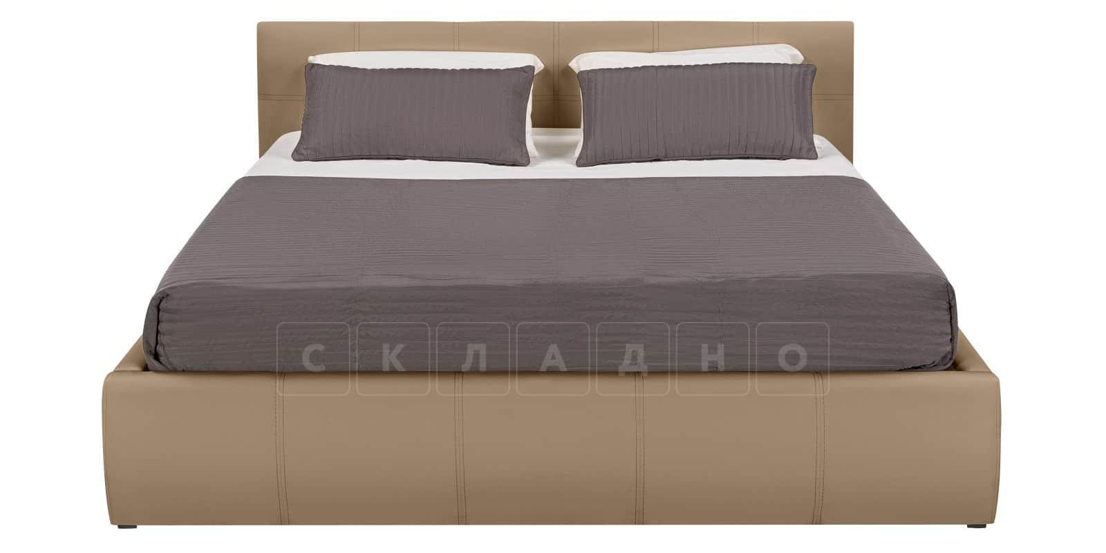 Мягкая кровать Афина 160см экокожа темно-бежевого цвета фото 3 | интернет-магазин Складно