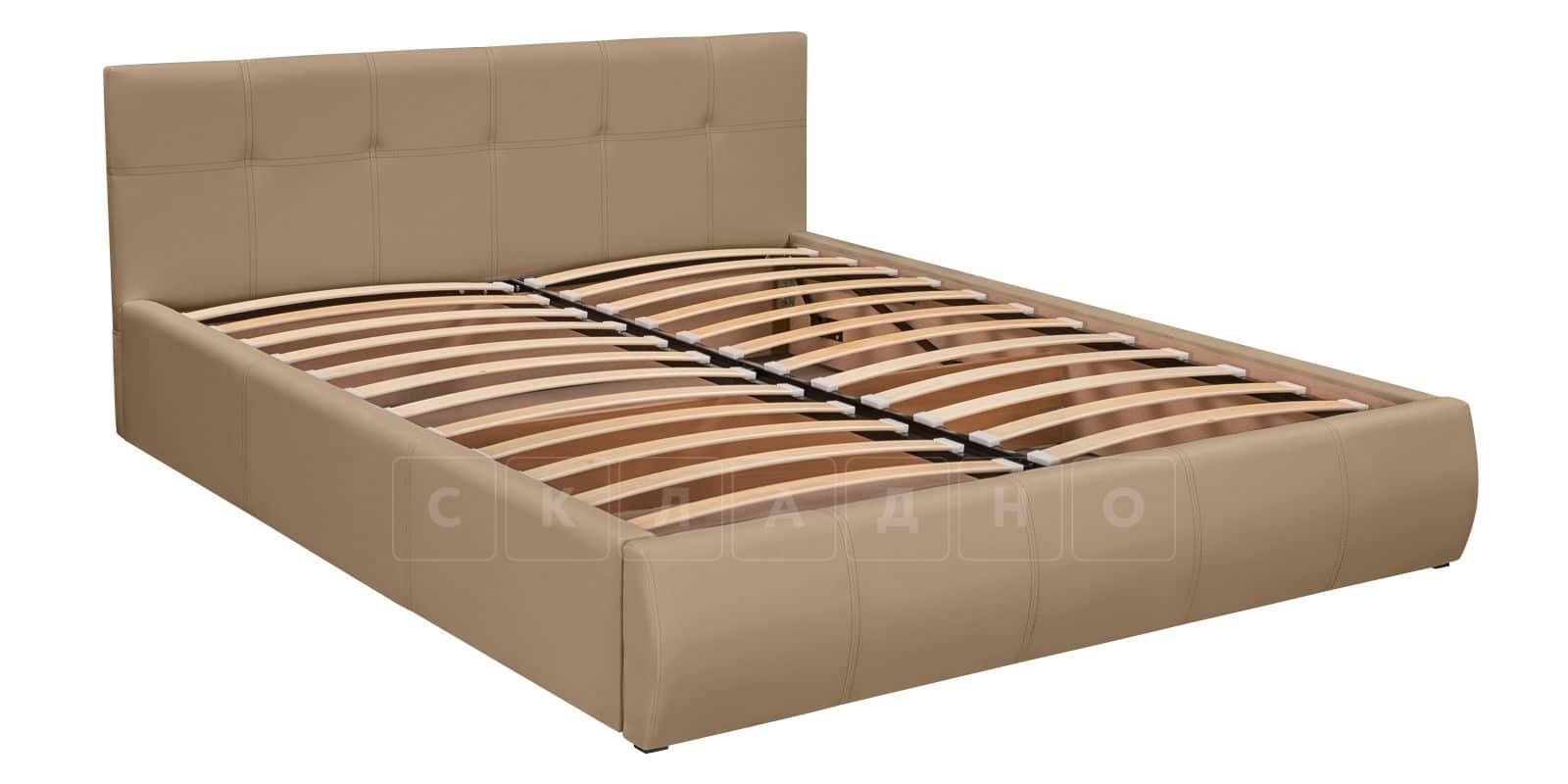 Мягкая кровать Афина 160см экокожа темно-бежевого цвета фото 5 | интернет-магазин Складно