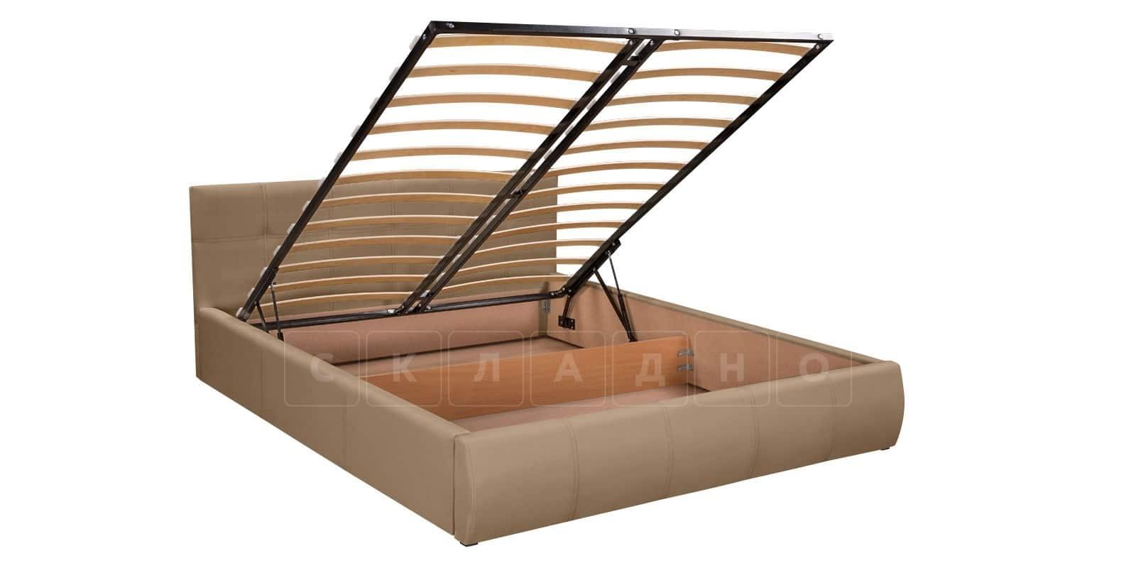 Мягкая кровать Афина 160см экокожа темно-бежевого цвета фото 6 | интернет-магазин Складно