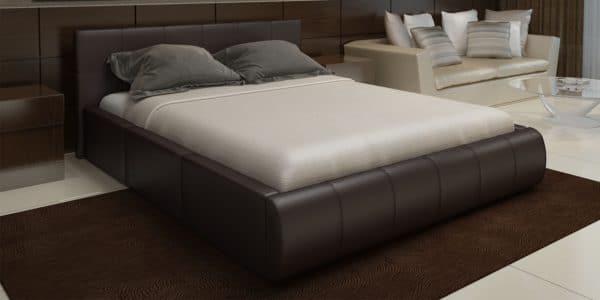 Мягкая кровать Афина 160см экокожа коричневого цвета фото | интернет-магазин Складно