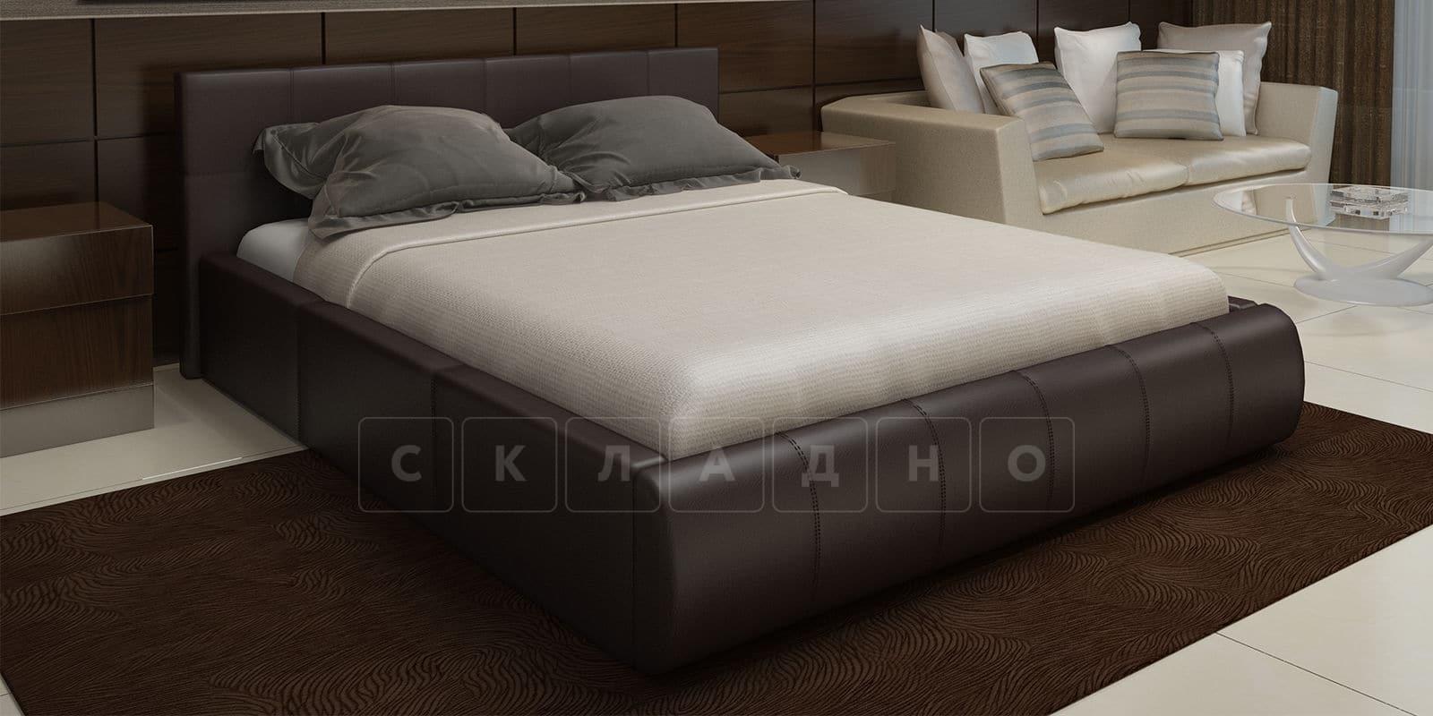 Мягкая кровать Афина 160см экокожа коричневого цвета фото 1   интернет-магазин Складно
