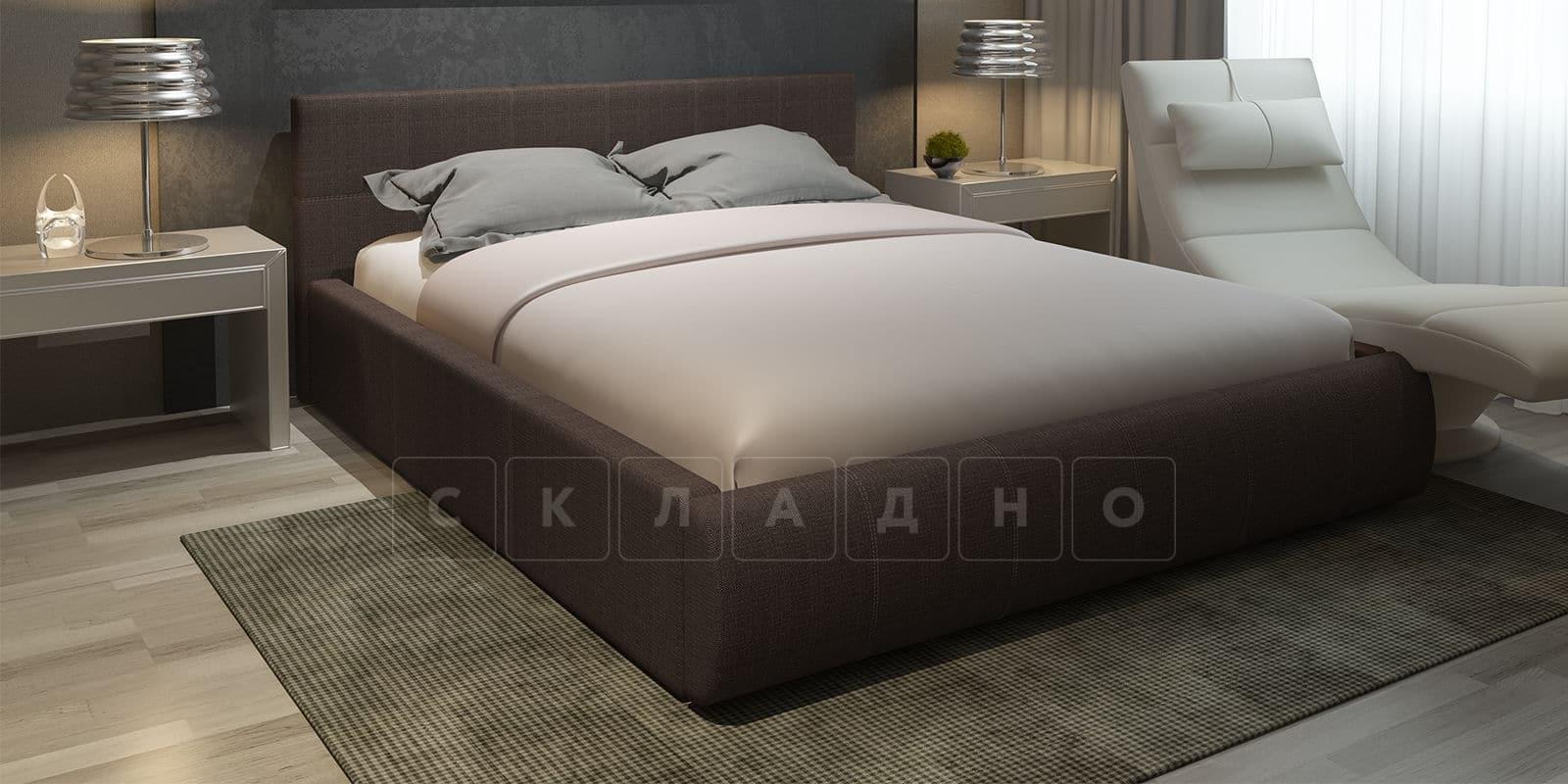 Мягкая кровать Афина 160см рогожка коричневого цвета фото 1 | интернет-магазин Складно