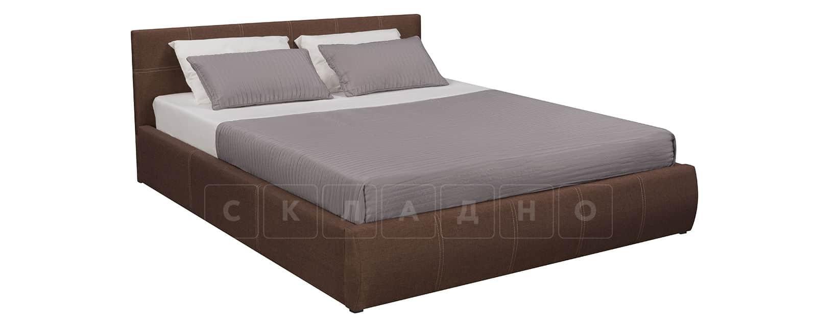 Мягкая кровать Афина 160см рогожка коричневого цвета фото 2 | интернет-магазин Складно