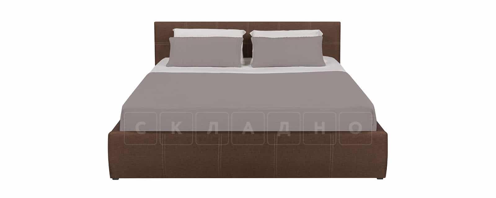 Мягкая кровать Афина 160см рогожка коричневого цвета фото 3 | интернет-магазин Складно