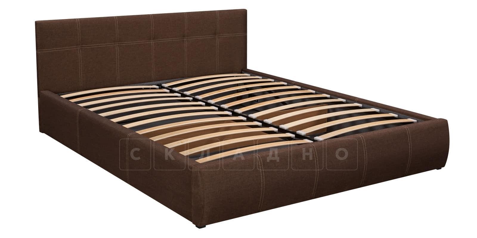 Мягкая кровать Афина 160см рогожка коричневого цвета фото 5 | интернет-магазин Складно