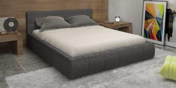 Мягкая кровать Афина 160см рогожка серого цвета фото | интернет-магазин Складно