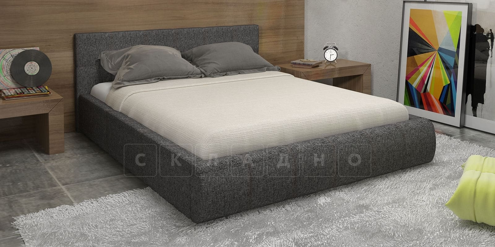 Мягкая кровать Афина 160см рогожка серого цвета фото 1 | интернет-магазин Складно
