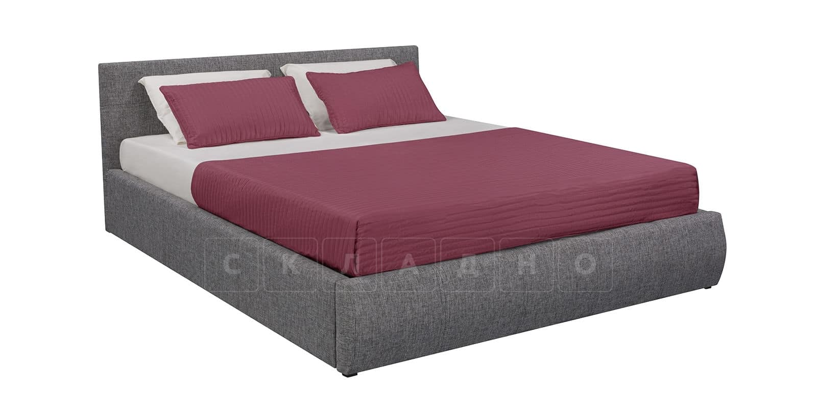 Мягкая кровать Афина 160см рогожка серого цвета фото 2 | интернет-магазин Складно