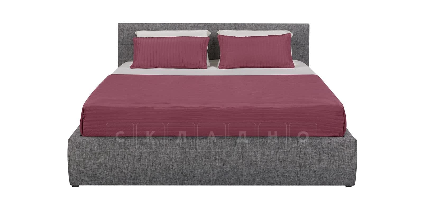 Мягкая кровать Афина 160см рогожка серого цвета фото 3 | интернет-магазин Складно