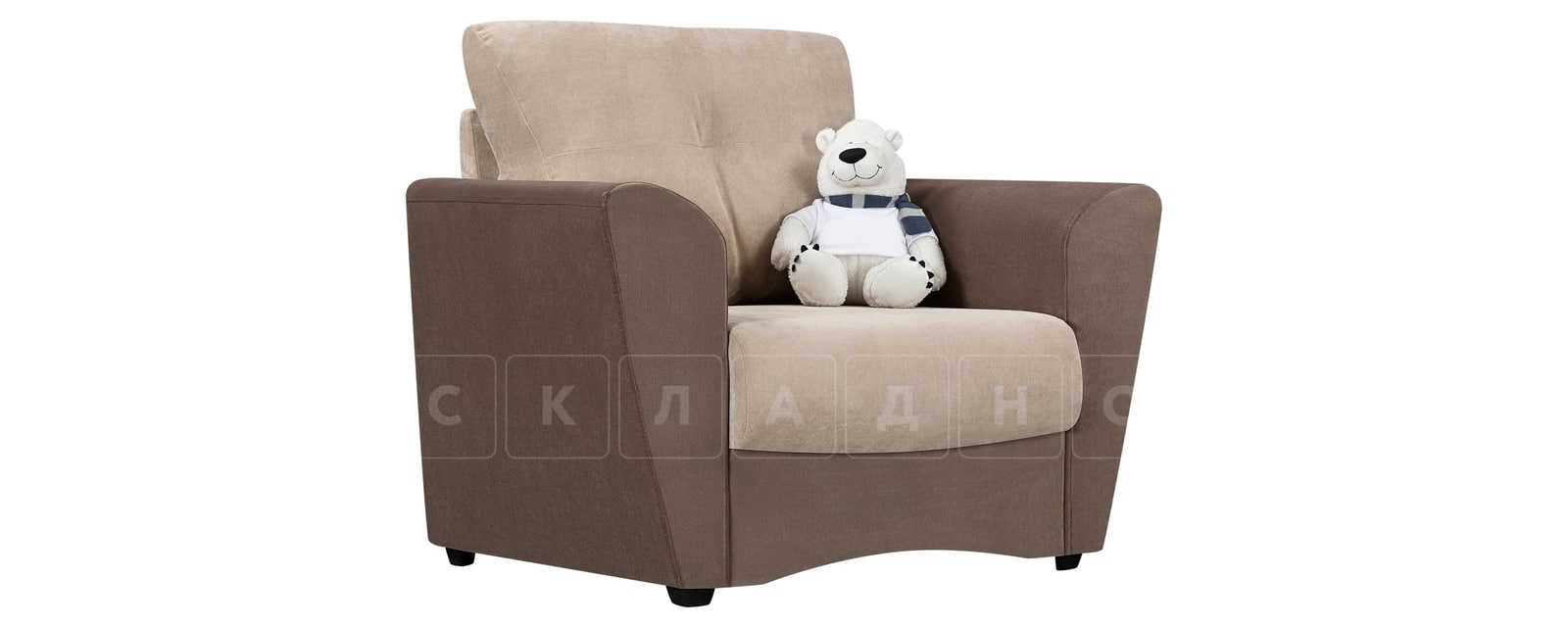 Кресло Амстердам вельвет бежевый с коричневым фото 1 | интернет-магазин Складно