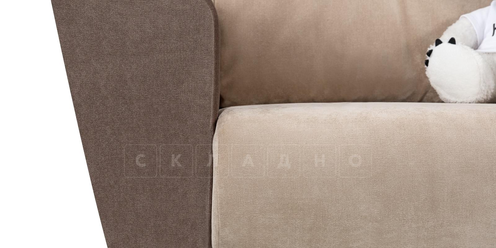 Кресло Амстердам вельвет бежевый с коричневым фото 5 | интернет-магазин Складно