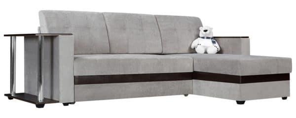 Угловой диван Атланта вельвет светло-серый фото | интернет-магазин Складно