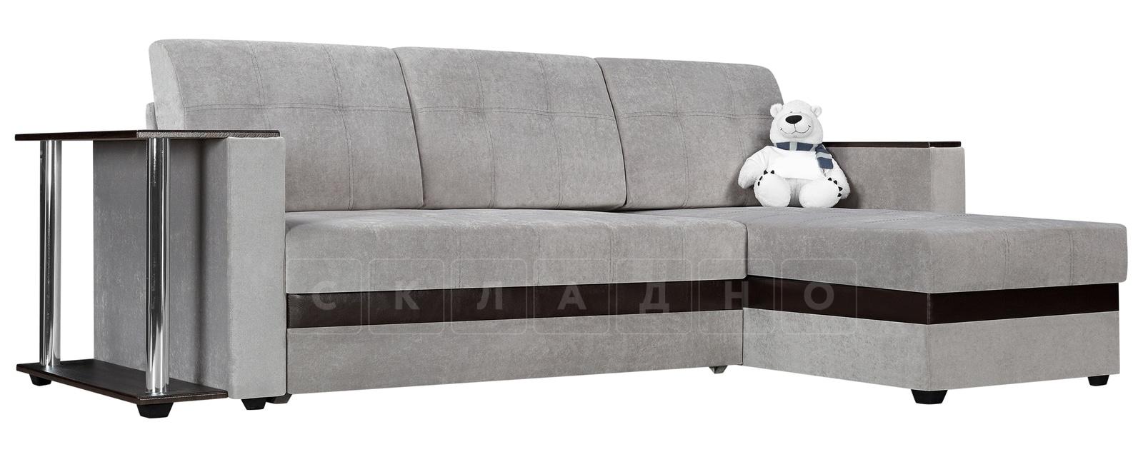 Угловой диван Атланта велюр светло-серый фото 1 | интернет-магазин Складно
