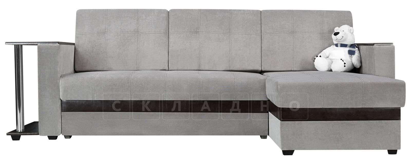 Угловой диван Атланта велюр светло-серый фото 2 | интернет-магазин Складно