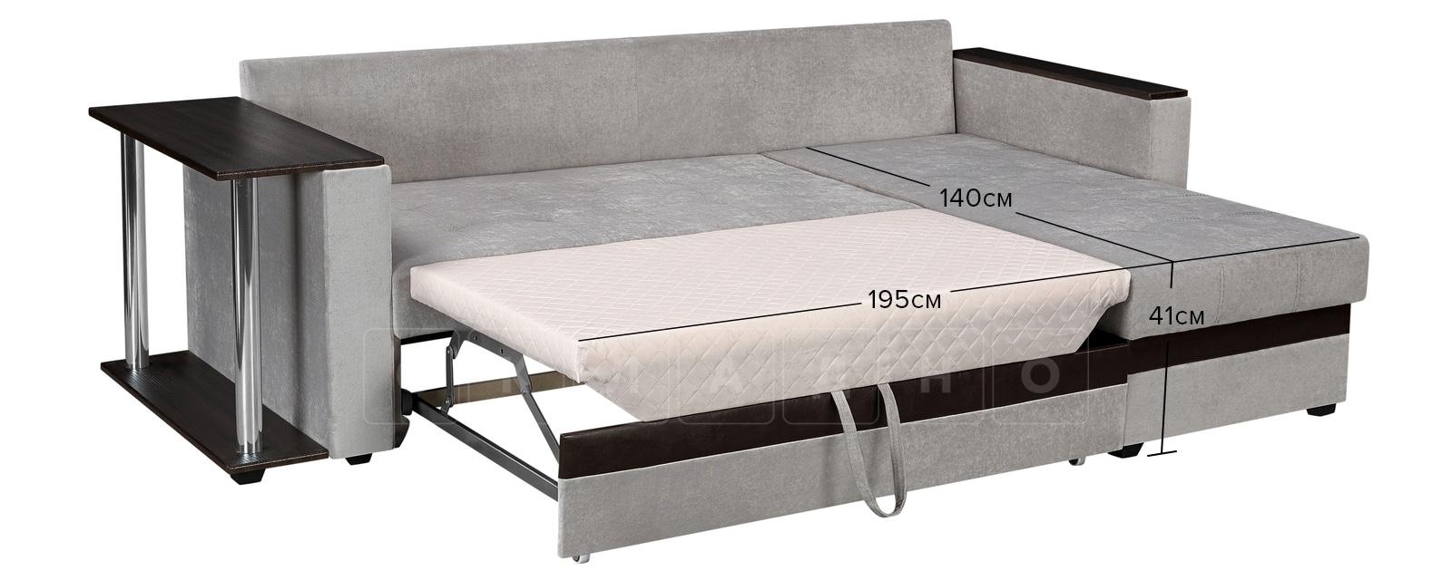 Угловой диван Атланта велюр светло-серый фото 11 | интернет-магазин Складно