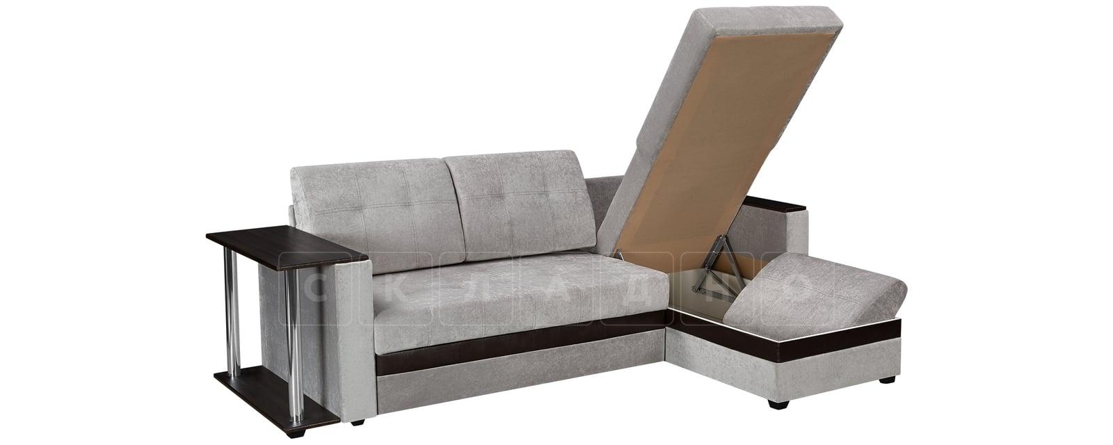 Угловой диван Атланта велюр светло-серый фото 4 | интернет-магазин Складно