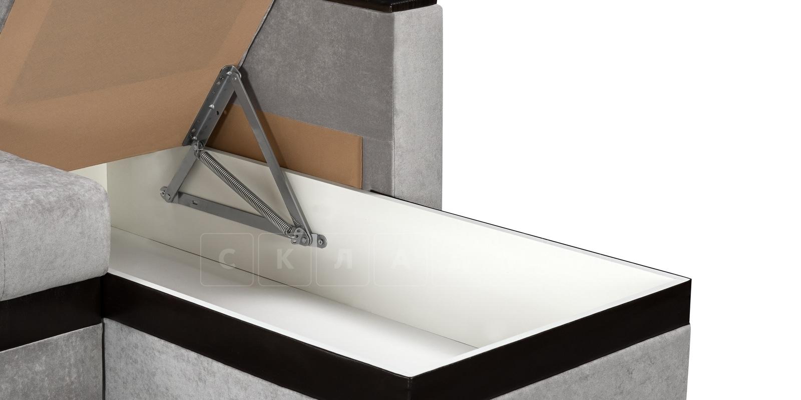 Угловой диван Атланта велюр светло-серый фото 5 | интернет-магазин Складно
