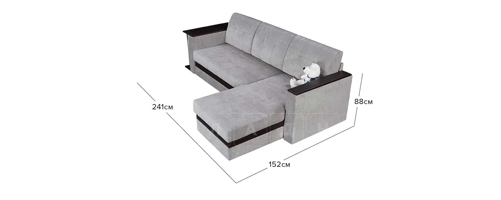 Угловой диван Атланта велюр светло-серый фото 10 | интернет-магазин Складно
