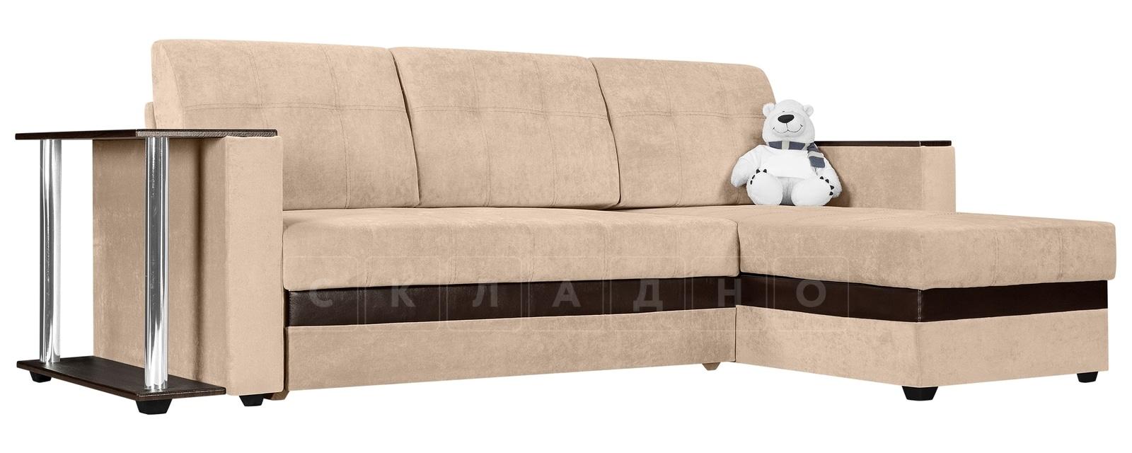 Угловой диван Атланта вельвет бежевый фото 1 | интернет-магазин Складно