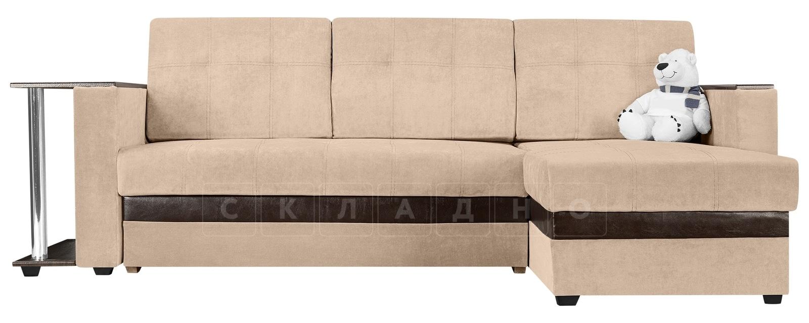 Угловой диван Атланта вельвет бежевый фото 2 | интернет-магазин Складно
