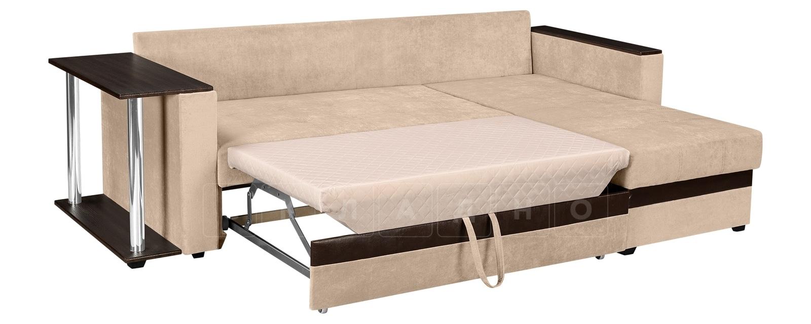 Угловой диван Атланта вельвет бежевый фото 4 | интернет-магазин Складно