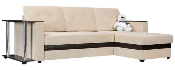 Угловой диван Атланта флок молочный фото | интернет-магазин Складно