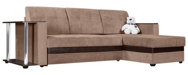 Угловой диван Атланта вельвет светло-коричневый фото | интернет-магазин Складно