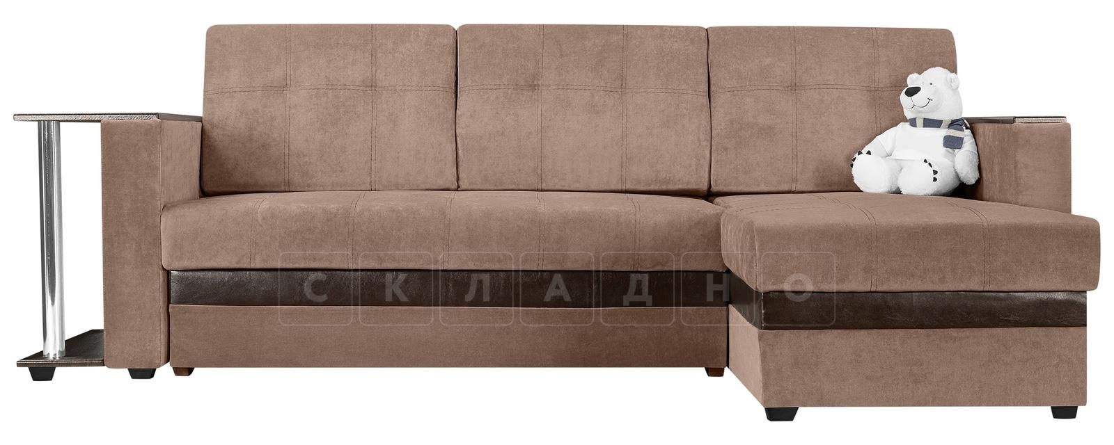 Угловой диван Атланта вельвет светло-коричневый фото 2 | интернет-магазин Складно