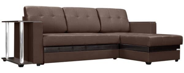 Угловой диван Атланта рогожка коричневого цвета фото | интернет-магазин Складно