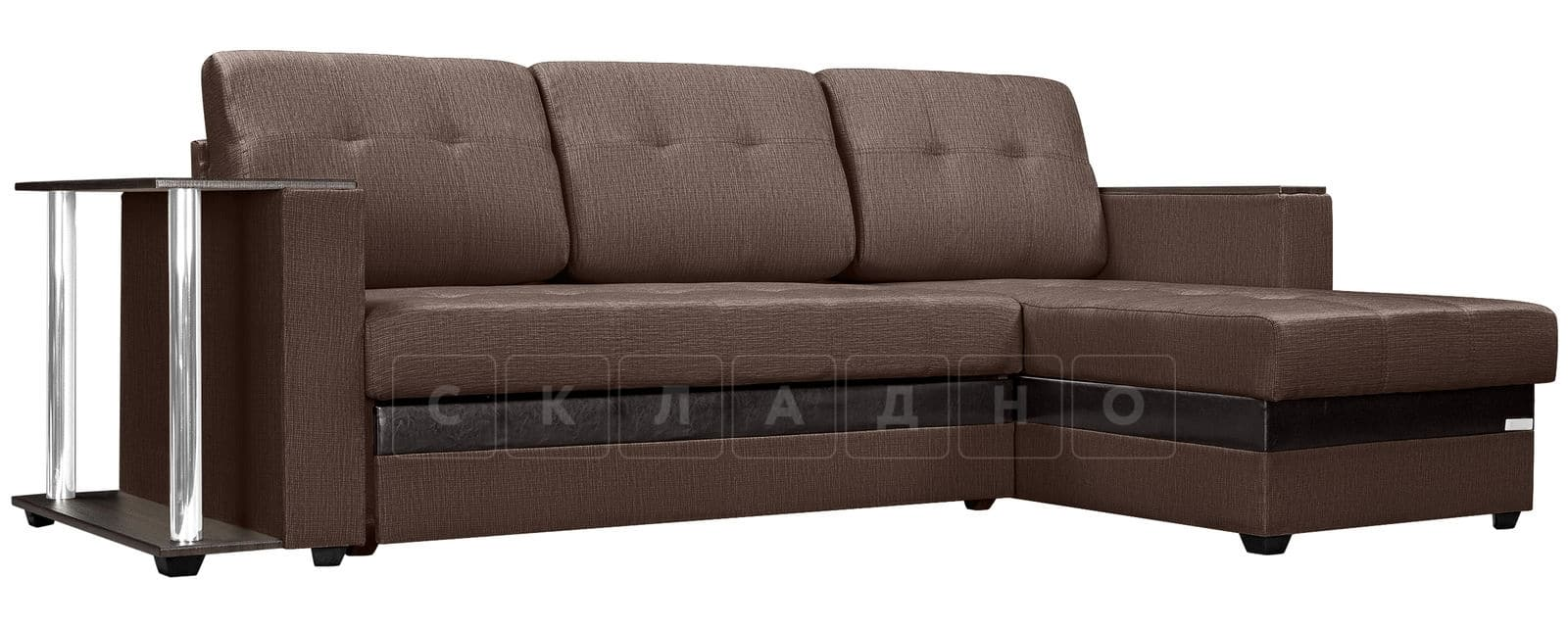 Угловой диван Атланта рогожка коричневого цвета фото 1 | интернет-магазин Складно