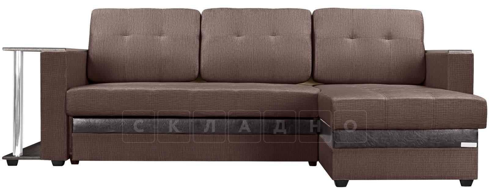 Угловой диван Атланта рогожка коричневого цвета фото 2 | интернет-магазин Складно