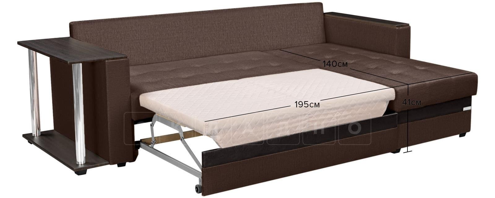Угловой диван Атланта рогожка коричневого цвета фото 11 | интернет-магазин Складно