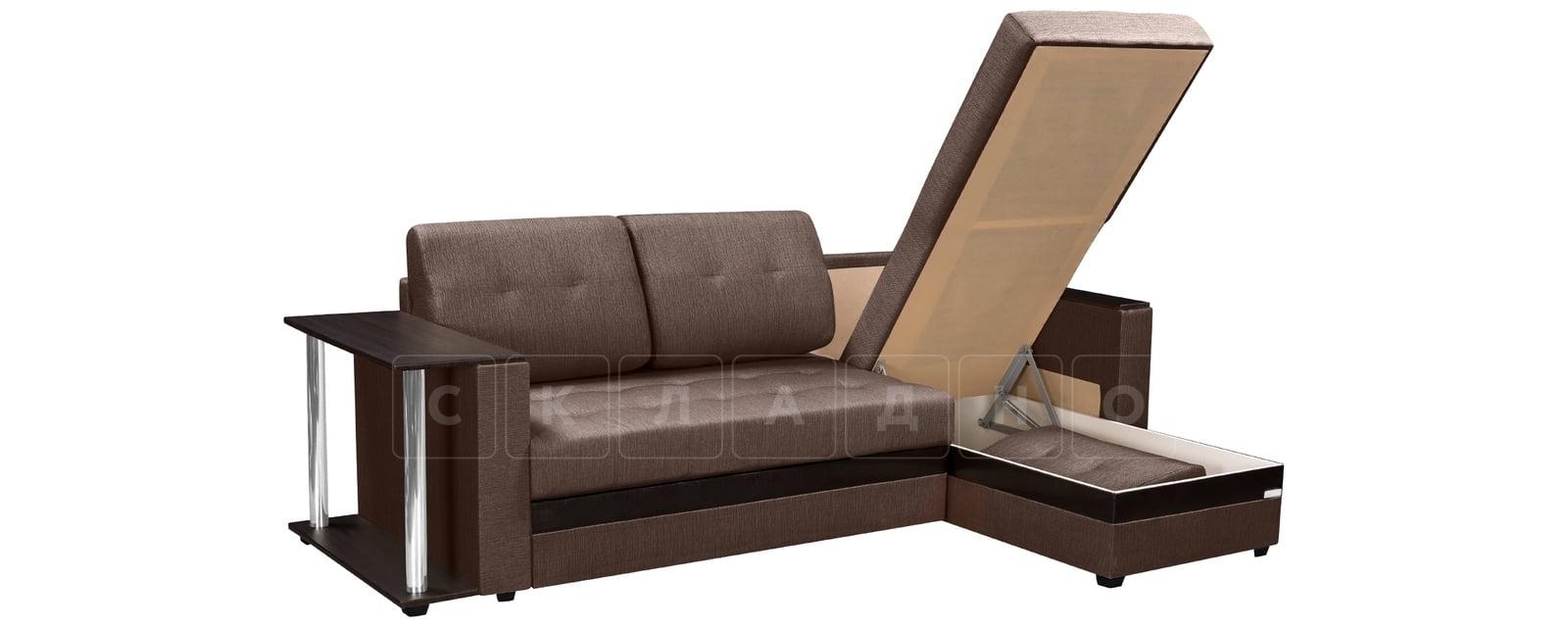 Угловой диван Атланта рогожка коричневого цвета фото 4 | интернет-магазин Складно