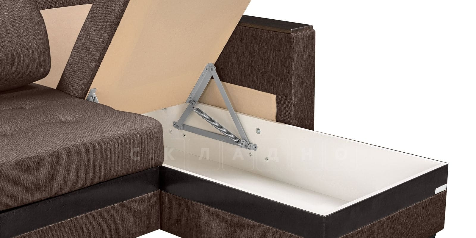Угловой диван Атланта рогожка коричневого цвета фото 5 | интернет-магазин Складно