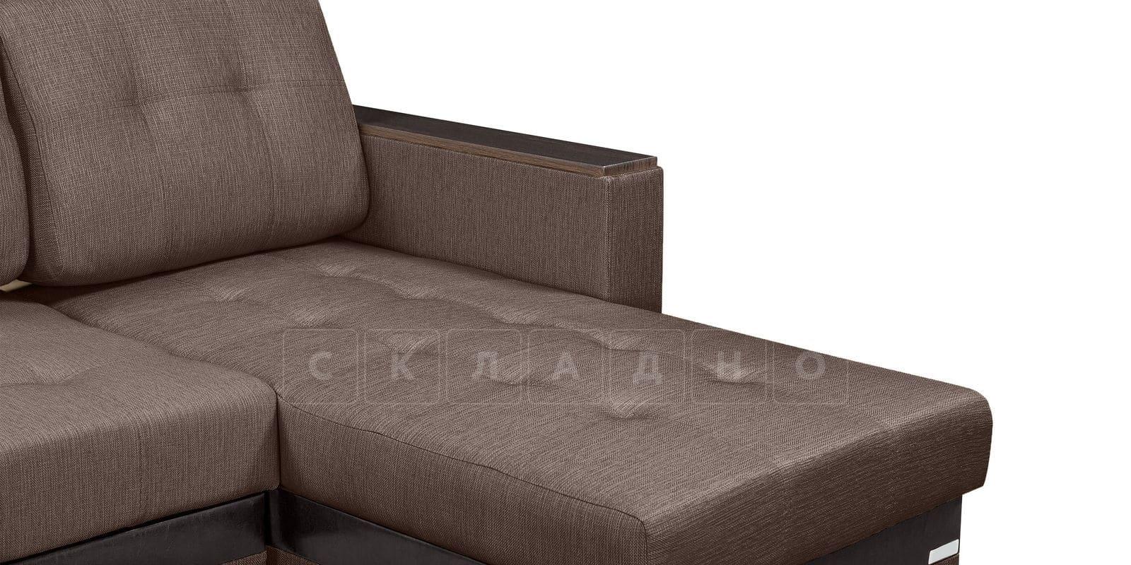Угловой диван Атланта рогожка коричневого цвета фото 8 | интернет-магазин Складно