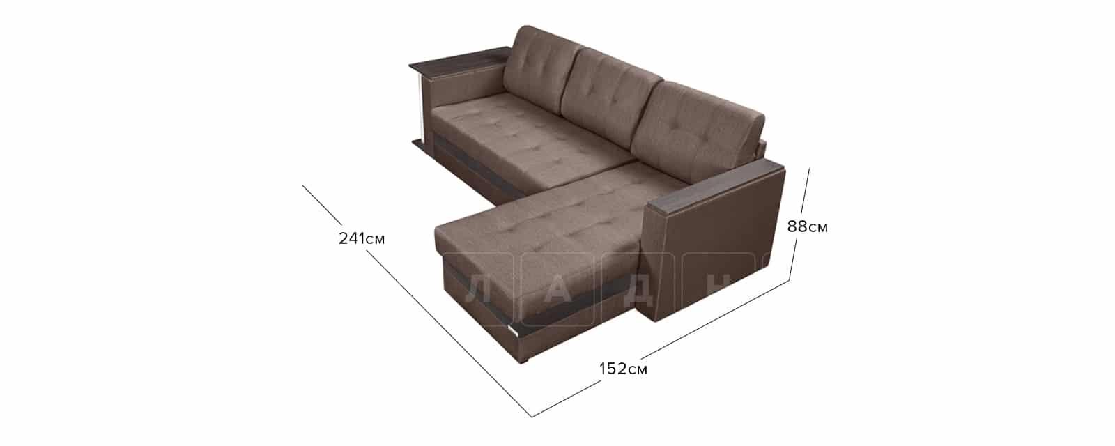 Угловой диван Атланта рогожка коричневого цвета фото 10 | интернет-магазин Складно