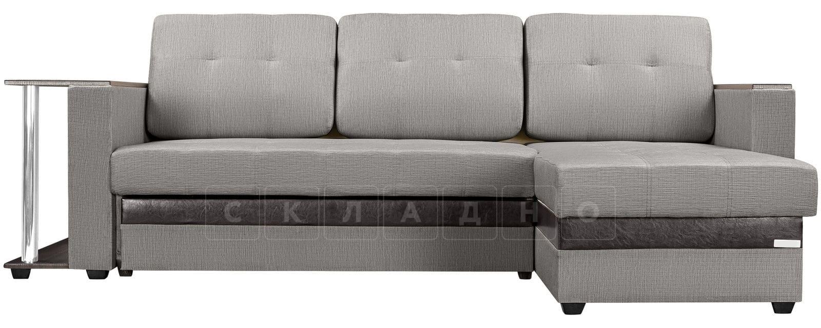 Угловой диван Атланта рогожка серого цвета фото 2 | интернет-магазин Складно