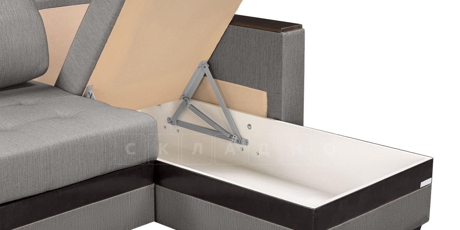 Угловой диван Атланта рогожка серого цвета фото 5 | интернет-магазин Складно