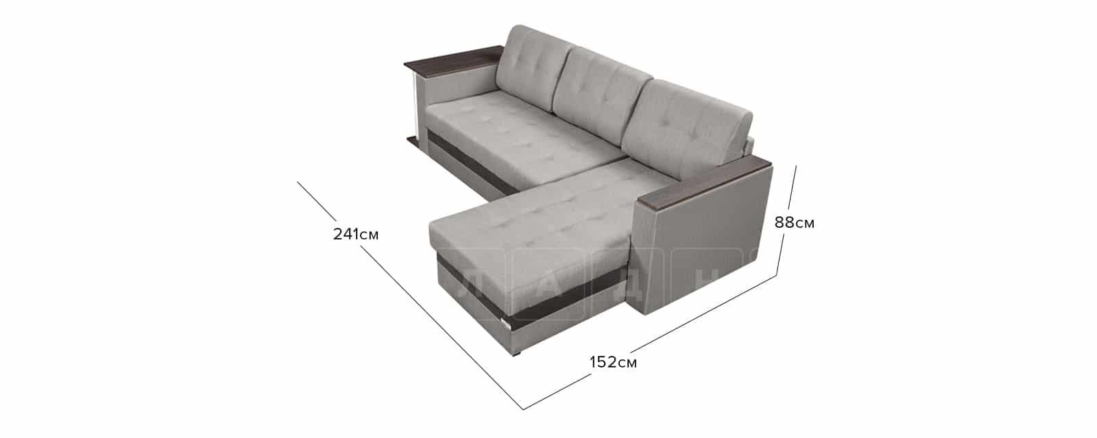 Угловой диван Атланта рогожка серого цвета фото 10 | интернет-магазин Складно