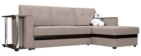 Угловой диван Атланта рогожка темно-бежевого цвета фото | интернет-магазин Складно