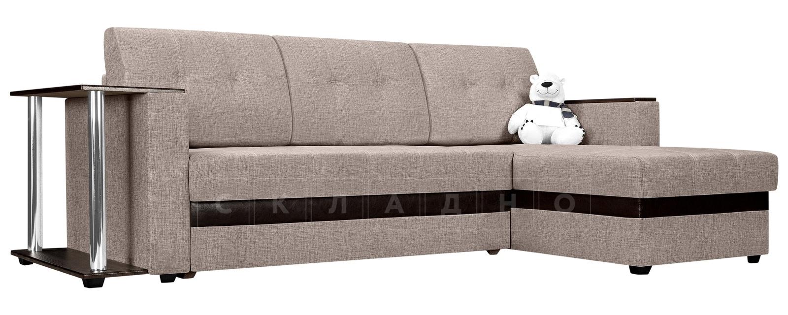 Угловой диван Атланта рогожка темно-бежевого цвета фото 1 | интернет-магазин Складно