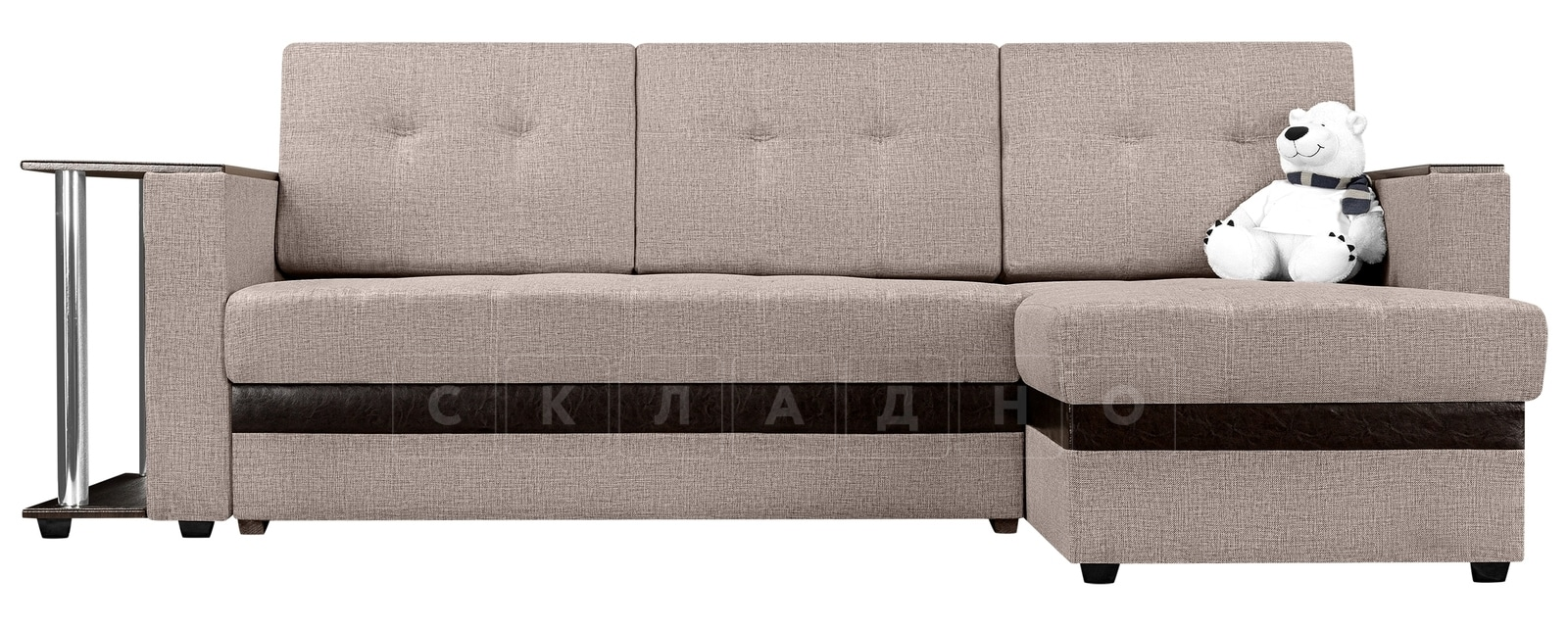 Угловой диван Атланта рогожка темно-бежевого цвета фото 2 | интернет-магазин Складно