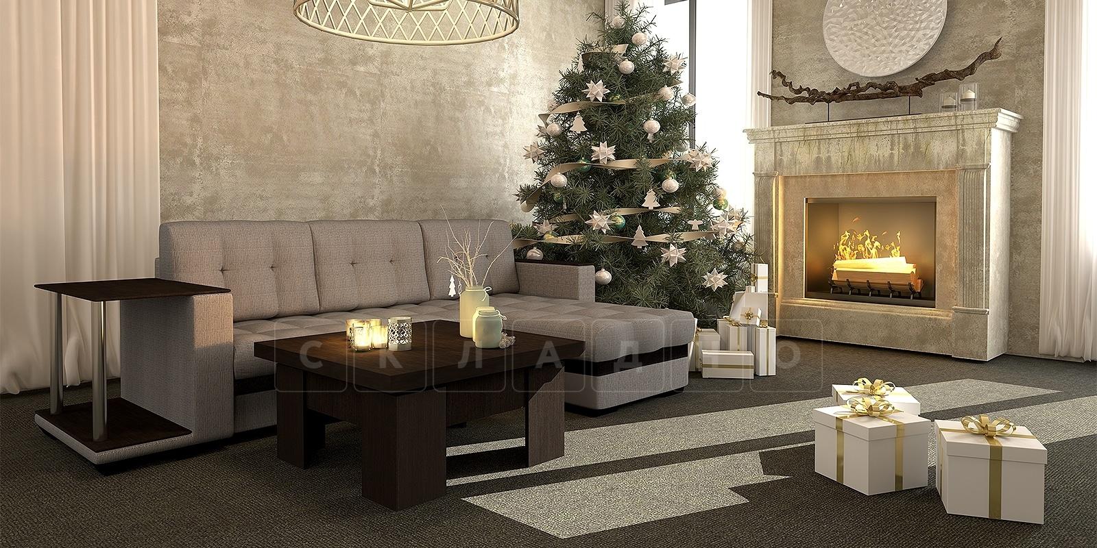 Угловой диван Атланта рогожка темно-бежевого цвета фото 11 | интернет-магазин Складно