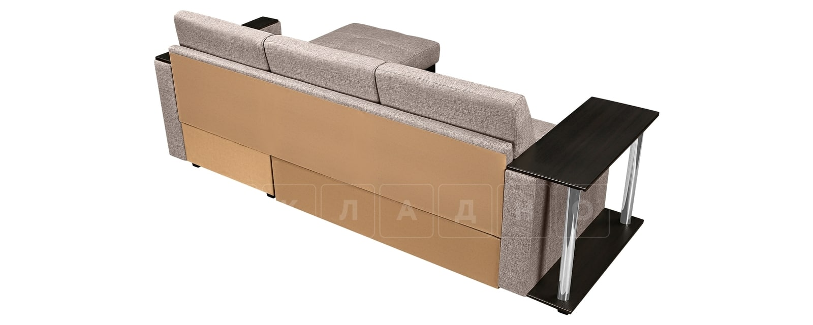 Угловой диван Атланта рогожка темно-бежевого цвета фото 3 | интернет-магазин Складно