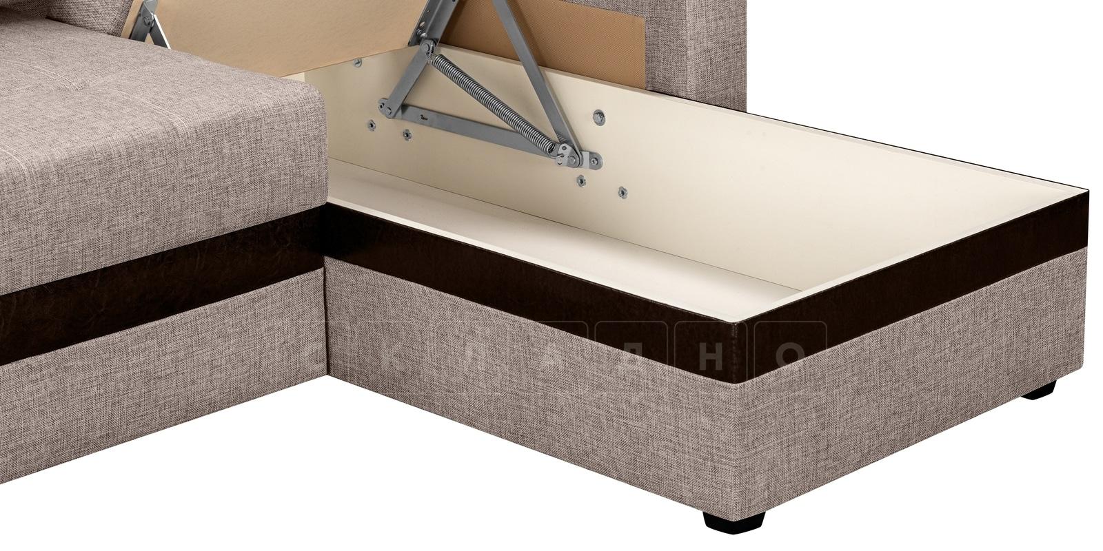 Угловой диван Атланта рогожка темно-бежевого цвета фото 6 | интернет-магазин Складно