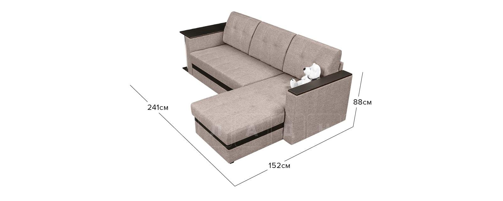 Угловой диван Атланта рогожка темно-бежевого цвета фото 9 | интернет-магазин Складно