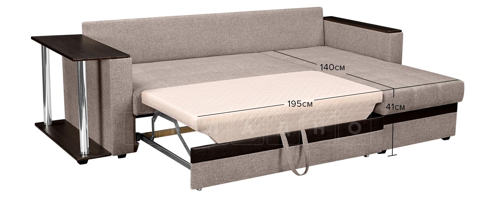 Угловой диван Атланта рогожка темно-бежевого цвета фото 10 | интернет-магазин Складно