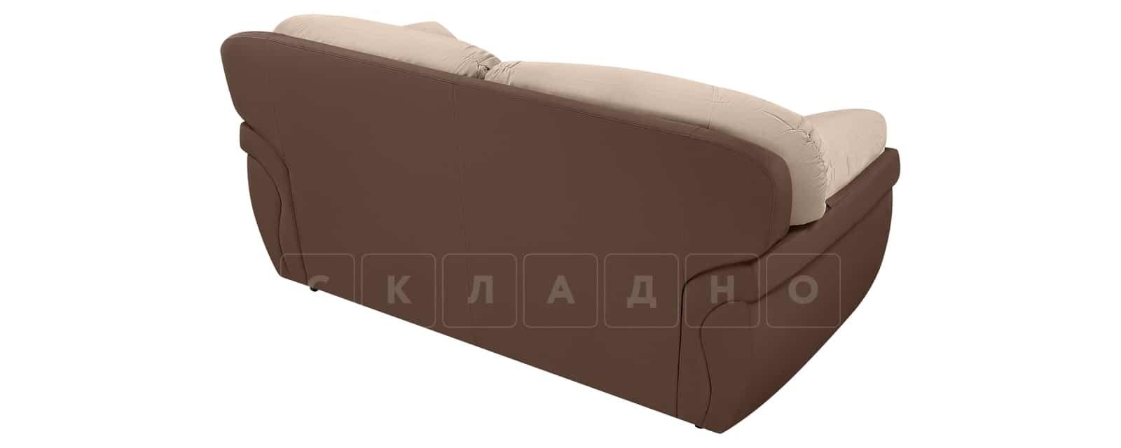 Диван Бристоль велюр бежевый с коричневым фото 3 | интернет-магазин Складно